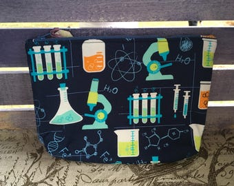Navy Chemistry Print Flared Make-up Bag