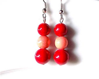 Coral dangle earrings, for pierced ears. coral pinks and red.