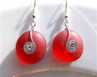 Red tumbled sea glass dangle earrings, for pierced ears.