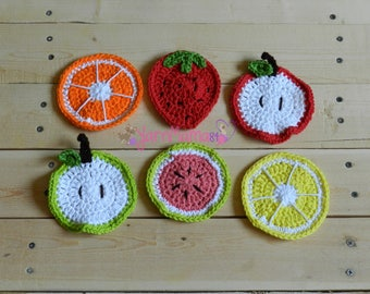 Fruit Coaster Set - Fruit Coasters - Citrus Coasters - Strawberry Coasters - Watermelon Coasters - Apple Coasters - Orange Coasters