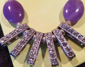 Beautiful purple rhinestone necklace