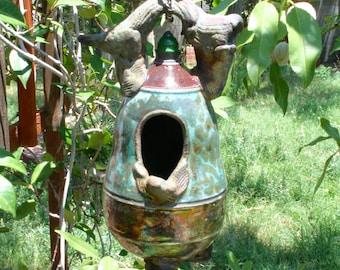 Decorative Mottled Blue Raku Birdhouse #03, Metallic Ceramic Raku Birdhouse, Hanging Pottery Birdhouse