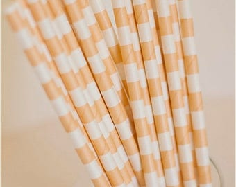 ON SALE - 15% OFF 25 Peach and White Horizontal Striped Paper Straws - Additional Items Ship Free!!!