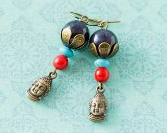Buddha Earrings with Blue Stone Beads, Red Coral and Turquoise Colored Beads, Buddhist Jewelry, Spiritual Jewelry, Yoga Jewelry