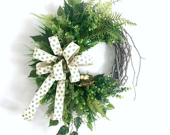 Green Wreaths for Front Door, Green Wreaths for Spring, Farmhouse Wreaths, Year Round Wreaths, Everyday Wreaths Spring Summer