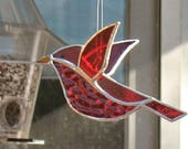 Red cardinal 3D stained glass bird window hanging ornament, mother's day gift, bird lover's gift, gift for grandmom, gift for friend.