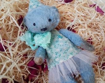 Teddy bear Mellie - german viscose, blu bear, artist teddy, OOAK bear teddy, fabric art toy , collectible teddy