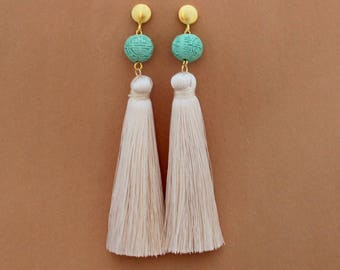 Silk Tassel Earrings - White Tassel Earrings - Tassle Earrings - Long Tassel Earrings - Global Inspired Earrings - Turquoise Tassel Earrings