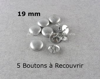 """5 Cover Buttons 3/4"""" (Size 30)"""