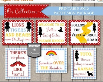 SALE INSTANT DOWNLOAD Printable Wizard of Oz Inspired 8x10 Party Sign Package/ 6 Signs / Oz Collection / Item #101