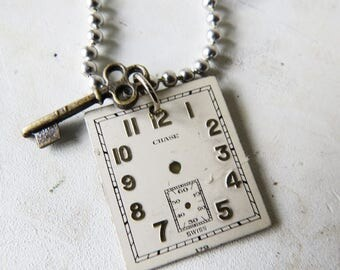 "Vintage Watch Face & key necklace Chase Watch Necklace 24"" Ball chain"