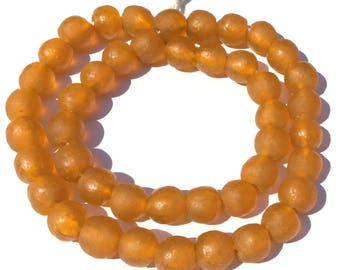44 Transparent matte Orange Ghana Round Krobo Recycled Glass African trade beads