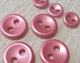 7 Shimmery Hot Pink Large 2 Hole Buttons
