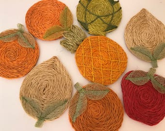 Vintage 1970's Set of (8) Hemp Straw Fruit Woven Coasters- Muli-Bright Colored Fruit Design from Phillipines