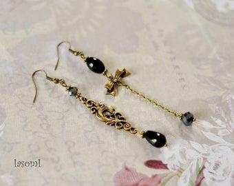 "Asymmetrical ""black Agate"" earrings"