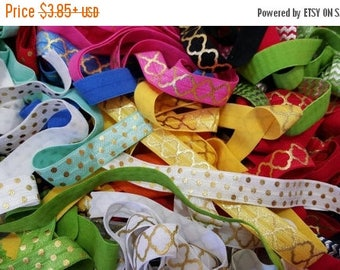"ON SALE 5/8"" METALLIC elastic,   elastic by the yard ,foe elastic for headband,hair ties ,assorted elastic ,wholesale elastic"