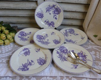 Set of 6 Antique french lavender transferware dinner plates. Violet Purple Lavender french transferware. French Nordic. Chipped Scratched