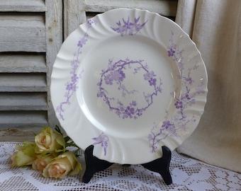 Antique french lavender transferware round platter. Lavender transferware. Purple transferware. Birds. French Nordic Romantic decor