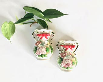 Vintage Wall Vases | Set of 2 Small, Hand-Painted Wall Vases | Home/Wall Decor