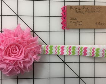 Pink Ruffled Flower and Green/Pink Chevron headband