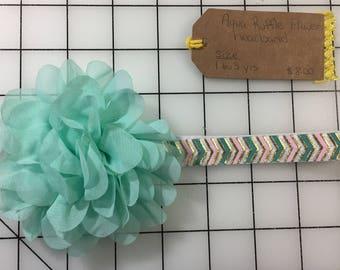 Aqua Teal Ruffle Flower Baby Headband