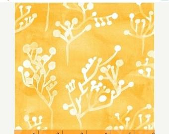 SALE Yellow Seaside Plants - Windham Fabrics - Sunnyside - 2 Yards - Batik Style - Yellow White - Sherbert Yellow - Sara Franklin - 40663-2