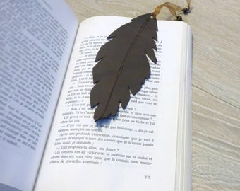 Indispensable gift for avid readers, gypsy feather leather bookmark, birthday present for my librarian best friend, ready to ship item