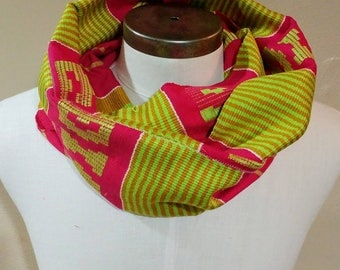 Authentic African Kente Cloth Scarf, Wrap Around Infinity Scarf, Pink Green Gold, Personalized Embroidery Optional