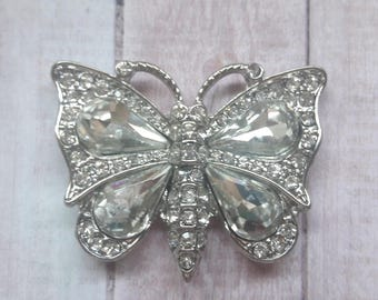 Silver Crystal Butterfly Pendant Jewelry Making Supplies