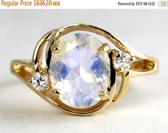 On Sale, 30%Off, Rainbow Moonstone, 14KY Gold Ring R021,