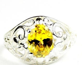 On Sale, 30% Off, Golden Yellow CZ, Sterling Silver Ladies Ring, SR111