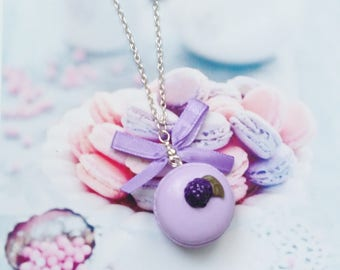 necklace blackberry macaron polymer clay