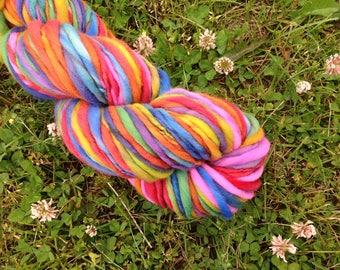 RAINBOW - Handspun Merino Bulky Thick & Thin Yarn - 100 YDS