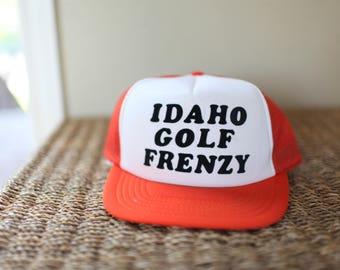 vintage orange iDAHO golf foam dome hat