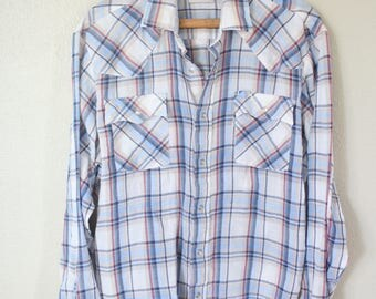 vintage levi's 1970's western cut plaid blue silver pearl snap button up shirt *