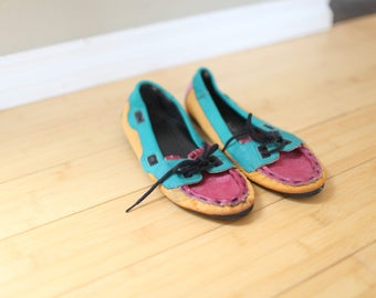 vintage turquoise pink & yellow leather boat shoes womens 7
