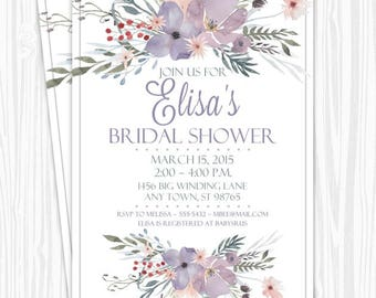 Printable Bridal Shower Invitation, Purple Watercolor Floral Wedding Shower Invite, Printable Shower Invite, CUSTOM Design, 4x6 or 5x7