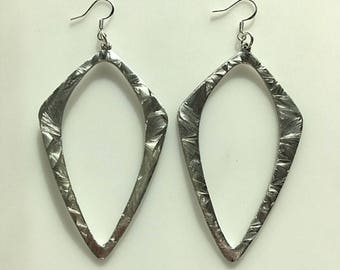 Large Brushed Silver Tone and Sterling Silver Geometric Earrings