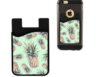 Cell Phone Caddy/Cell Phone Case/Pineapple Credit Card Holder/Debit Card Holder/Cell Phone Pocket/Student ID Holder/Pineapple Card Holder