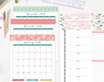 2017-2018 Homeschool Set Monthly & Weekly calendar refill