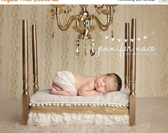 SUMMER SALE Newborn Baby Photography Prop Bed 4 Poster White or Gold