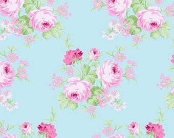 Charlotte Blue Wild Boquet Yardage SKU# PWTW144.BLUEX by Tanya Whelan for Free Spirit Fabrics