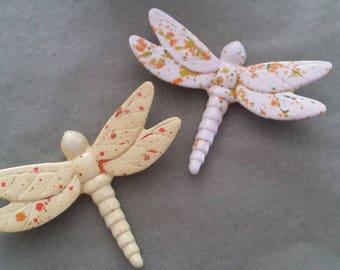 Dragonflies Wall Hanging, Hand-painted with Crystal Glaze, Home Decor, Insects, Garden Decor