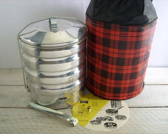 Vintage Regal Ware Picnic Pack Food Carrier ~ Insulated Plastic Plaid Bag ~ Metal Picnic Camping Travel Cooler Warmer Covered Cooking Pan
