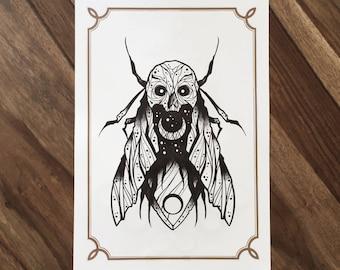LIMITED Death Moth  - Tattoo print 50/50 signed