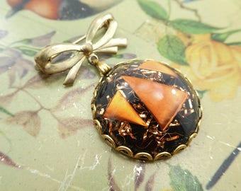 Vintage Confetti Lucite Brooch, Ribbon Dangle