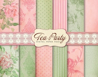 12 Shabby Chic Digital Papers, Tea Party Digital Scrapbook Papers, Mint green and Pink, For card making and scrapbooking