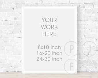 white frame mockup 8x10, portrait, frame mock up 16x20, 24x30,  poster frame, poster, white brick wall, digital frame
