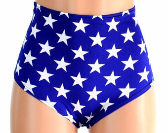 "High Waist ""Siren"" Hot Pants in Blue & White Star Print Spandex Rave Festival Clubwear Patriotic Super Hero 'Murica - 154662"