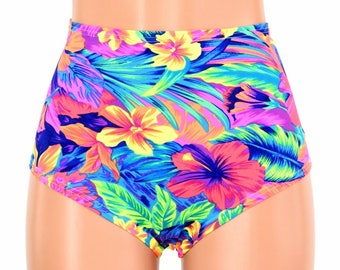 "High Waist ""Siren"" Hot Pants in UV GLOW Tahitian Floral Spandex Rave Festival Clubwear Sexy Bright NEON - 154682"